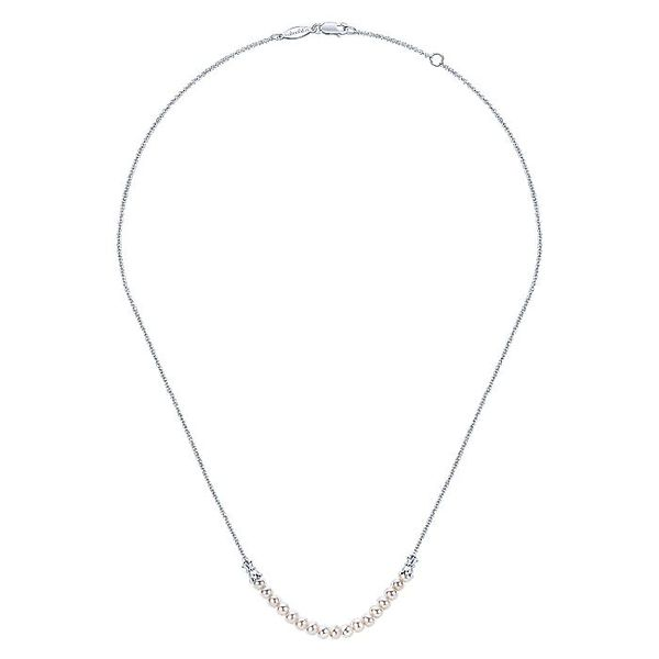 Gabriel & Co Sterling Silver Cultured Pearl String Necklace Image 2 David Scott Fine Jewelry Panama City Beach, FL