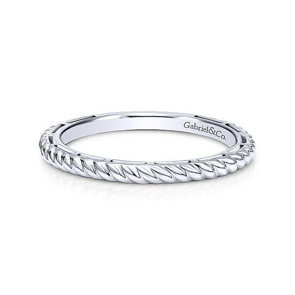 Gabriel & Co White Gold Twisted Rope Stackable Ring David Scott Fine Jewelry Panama City Beach, FL