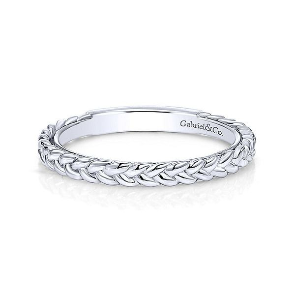 Gabriel & Co White Gold Braided Stackable Ring David Scott Fine Jewelry Panama City Beach, FL