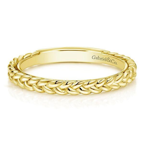 Gabriel & Co. Yellow Gold Braided Stackable Ring David Scott Fine Jewelry Panama City Beach, FL