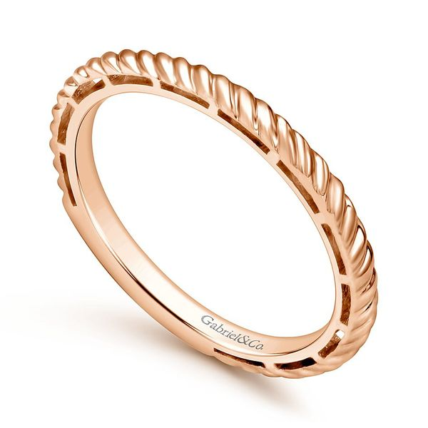 Gabriel & Co Rose Gold Twisted Rope Stackable Ring Image 3 David Scott Fine Jewelry Panama City Beach, FL