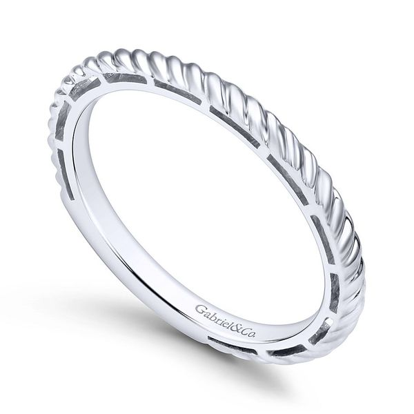Gabriel & Co White Gold Twisted Rope Stackable Ring Image 3 David Scott Fine Jewelry Panama City Beach, FL