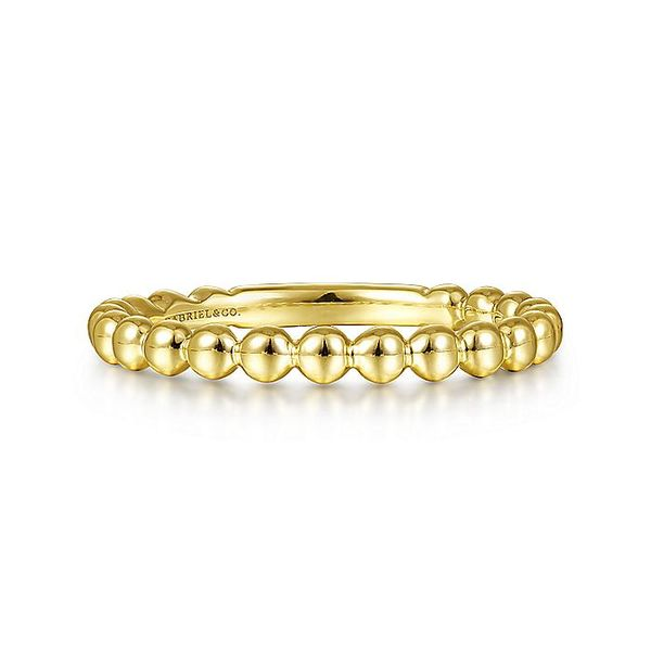 Gabriel & Co Yellow Gold Beaded Stackable Ring David Scott Fine Jewelry Panama City Beach, FL