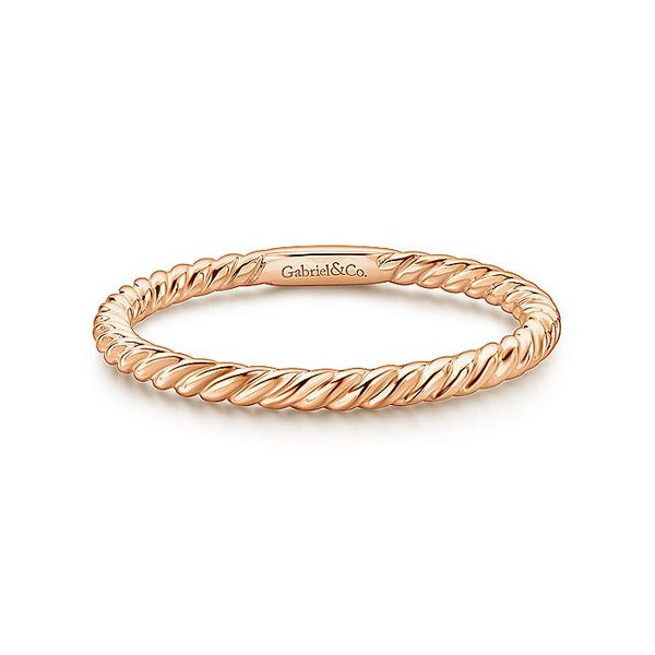 Gabriel & Co Rose Gold Twisted Rope Stackable Ring David Scott Fine Jewelry Panama City Beach, FL