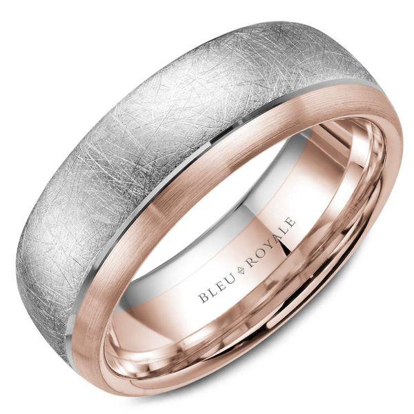 Rose Gold Wedding Band.Crown Ring Bleu Royale Collection White And Rose Gold Wedding Band