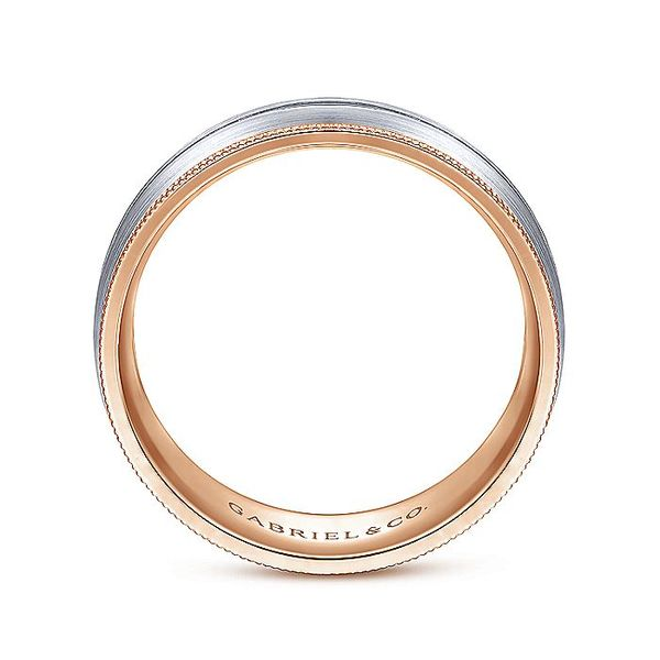 Gabriel & Co White And Rose Gold Satin Channel Rope Edge Men's Wedding Ring Image 2 David Scott Fine Jewelry Panama City Beach, FL