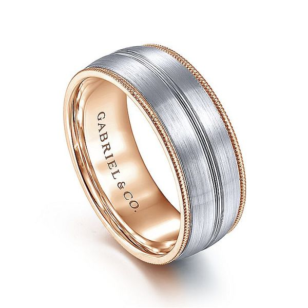Gabriel & Co White And Rose Gold Satin Channel Rope Edge Men's Wedding Ring Image 3 David Scott Fine Jewelry Panama City Beach, FL