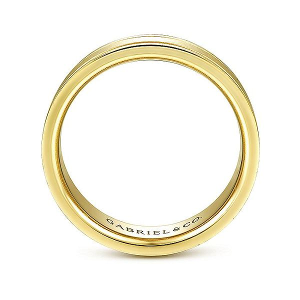 Gabriel & Co Yellow Gold Sandblast & Milgrain Men's Wedding Ring Image 2 David Scott Fine Jewelry Panama City Beach, FL