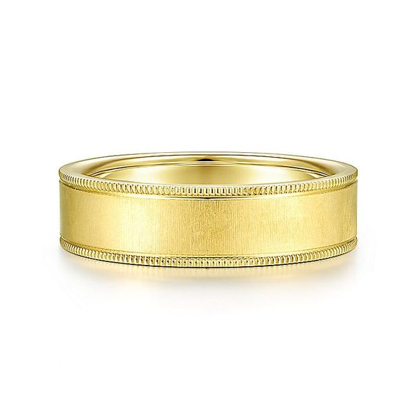 Gabriel & Co Yellow Gold Sandblast & Milgrain Men's Wedding Ring David Scott Fine Jewelry Panama City Beach, FL