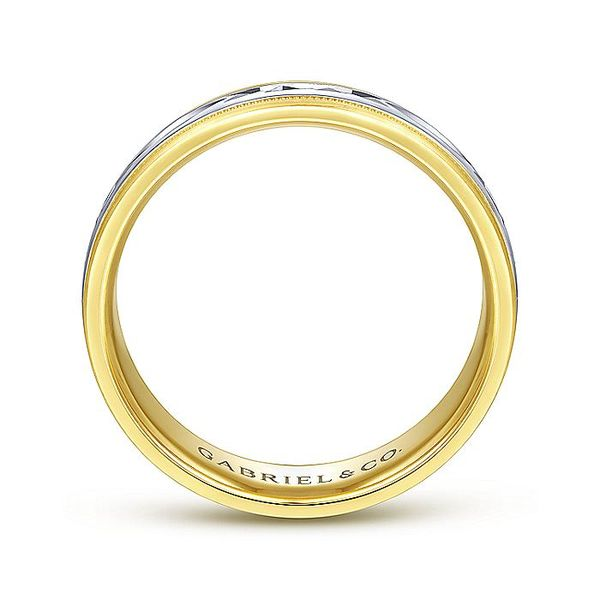 Gabriel & Co Yellow And White Gold Engraved Men's Wedding Ring Image 2 David Scott Fine Jewelry Panama City Beach, FL