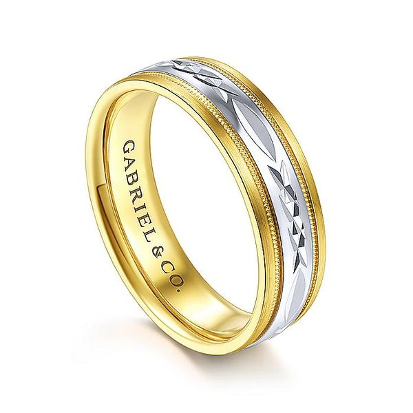 Gabriel & Co Yellow And White Gold Engraved Men's Wedding Ring Image 3 David Scott Fine Jewelry Panama City Beach, FL