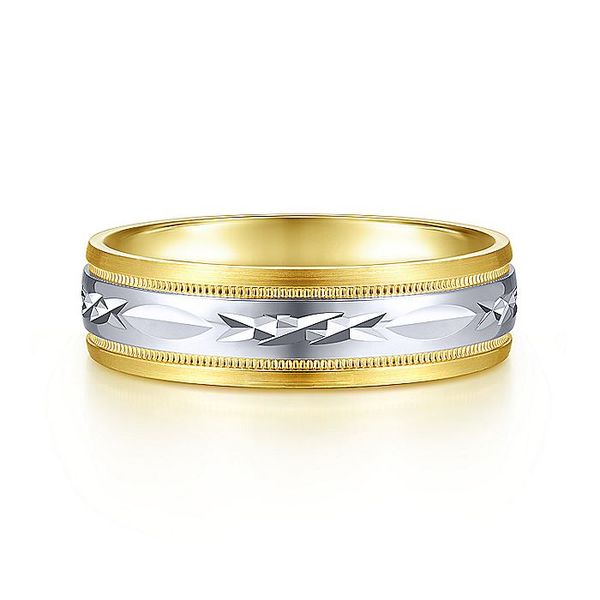 Gabriel & Co Yellow And White Gold Engraved Men's Wedding Ring David Scott Fine Jewelry Panama City Beach, FL
