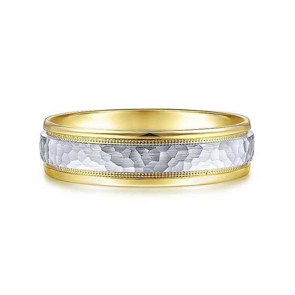 Gabriel & Co Yellow And White Gold Hammered Milgrain Channel Polished Edge Men's Wedding Ring David Scott Fine Jewelry Panama City Beach, FL
