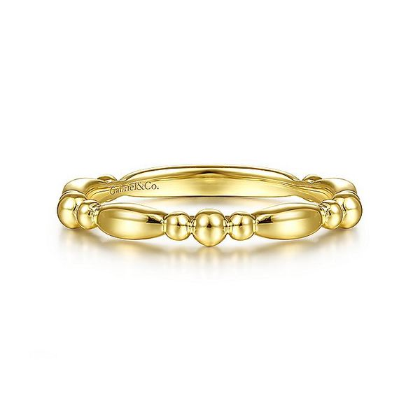 Gabriel & Co Yellow Gold Alternating Bar and Bujukan Bead Stackable Ring David Scott Fine Jewelry Panama City Beach, FL