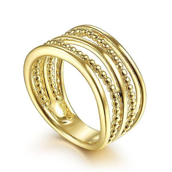 Gabriel & Co Yellow Gold Multi Row Bujukan Bead Curved Ring Image 3 David Scott Fine Jewelry Panama City Beach, FL