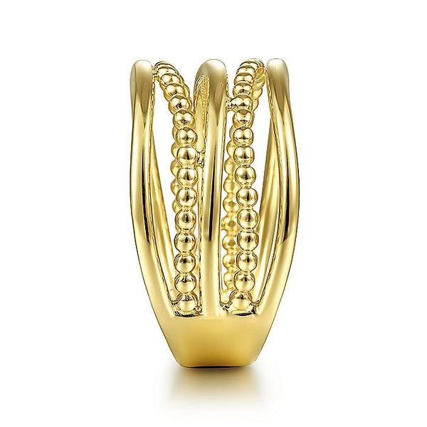 Gabriel & Co Yellow Gold Multi Row Bujukan Bead Curved Ring Image 4 David Scott Fine Jewelry Panama City Beach, FL