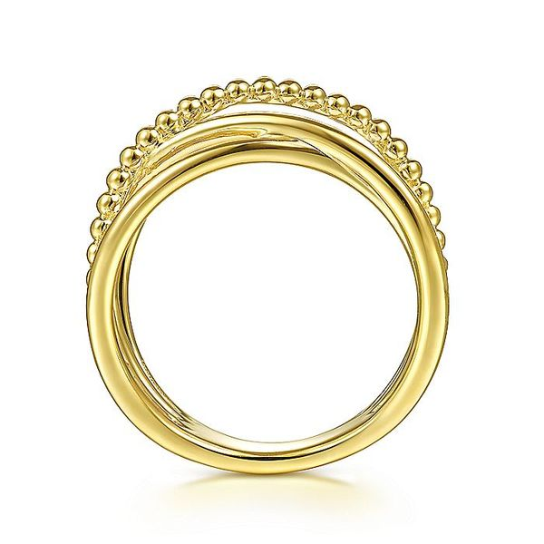 Gabriel & Co Yellow Gold Bujukan Bead Criss Cross Ring Image 2 David Scott Fine Jewelry Panama City Beach, FL