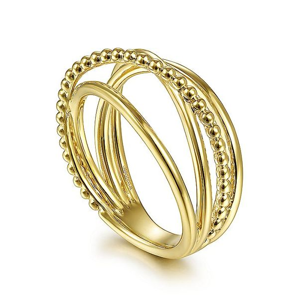 Gabriel & Co Yellow Gold Bujukan Bead Criss Cross Ring Image 3 David Scott Fine Jewelry Panama City Beach, FL
