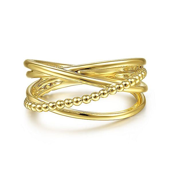 Gabriel & Co Yellow Gold Bujukan Bead Criss Cross Ring David Scott Fine Jewelry Panama City Beach, FL