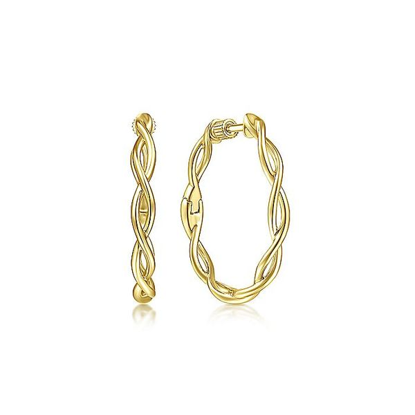Gabriel & Co Yellow Plain Gold 25mm Twisted Round Hoop Earrings David Scott Fine Jewelry Panama City Beach, FL