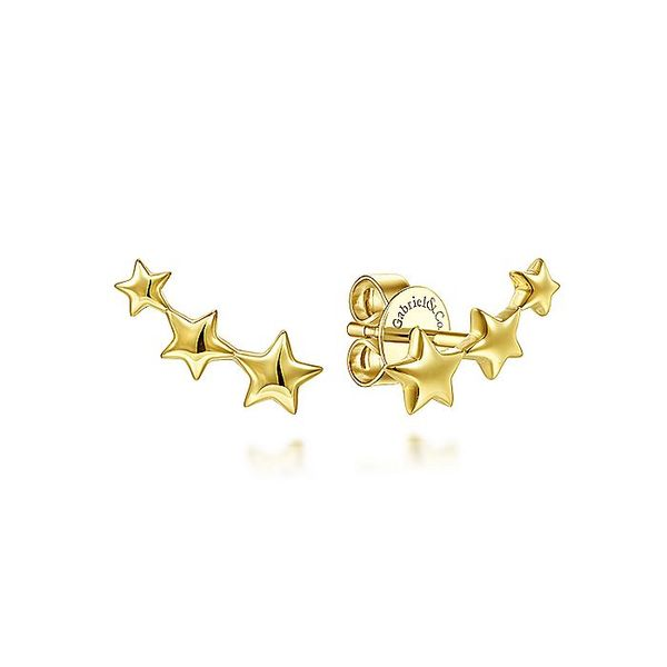Gabriel & Co Yellow Gold Triple Graduating Stars Curved Stud Earrings David Scott Fine Jewelry Panama City Beach, FL