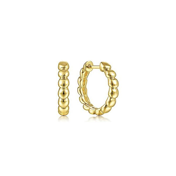 Gabriel & Co Yellow Gold 15mm Bujukan Huggie Earrings David Scott Fine Jewelry Panama City Beach, FL