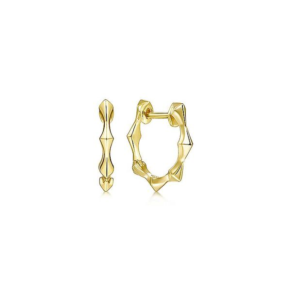Gabriel & Co Yellow Gold Graduating Pattern Huggie Earrings David Scott Fine Jewelry Panama City Beach, FL