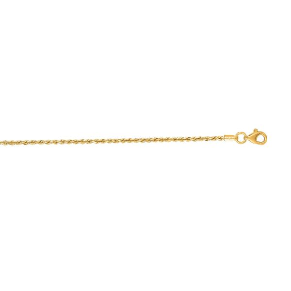 14K Yellow Gold Solid Rope Chain 1.5mm 18