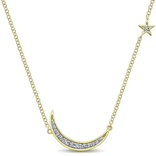 Gabriel & Co Yellow Gold Crescent Moon Diamond Pendant Necklace David Scott Fine Jewelry Panama City Beach, FL