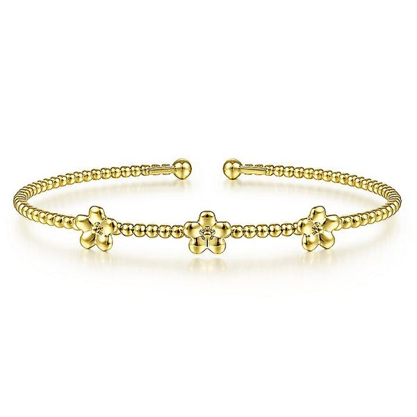 Gabriel & Co Yellow Gold Bujukan Bead Cuff Bracelet with Flower Stations David Scott Fine Jewelry Panama City Beach, FL