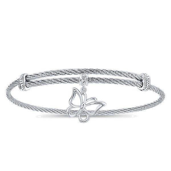Gabriel & Co Adjustable Twisted Cable Stainless Steel Bangle with Sterling Silver Butterfly Charm David Scott Fine Jewelry Panama City Beach, FL