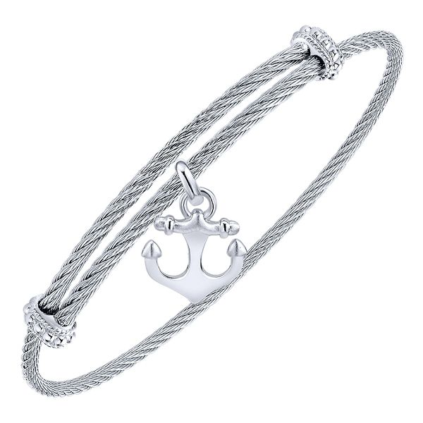 Gabriel & Co Adjustable Twisted Cable Stainless Steel Bangle with Sterling Silver Anchor Charm Image 2 David Scott Fine Jewelry Panama City Beach, FL