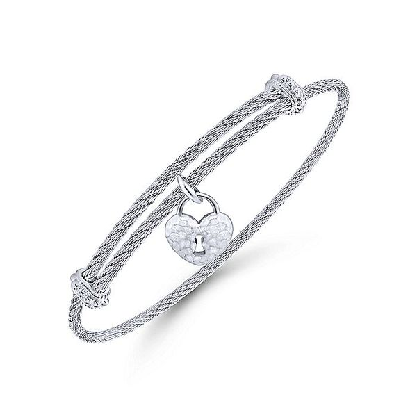 Gabriel & Co Adjustable Twisted Cable Stainless Steel Bangle with Sterling Silver Heart Lock Charm Image 2 David Scott Fine Jewelry Panama City Beach, FL