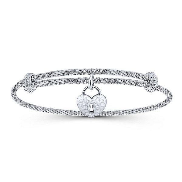 Gabriel & Co Adjustable Twisted Cable Stainless Steel Bangle with Sterling Silver Heart Lock Charm David Scott Fine Jewelry Panama City Beach, FL
