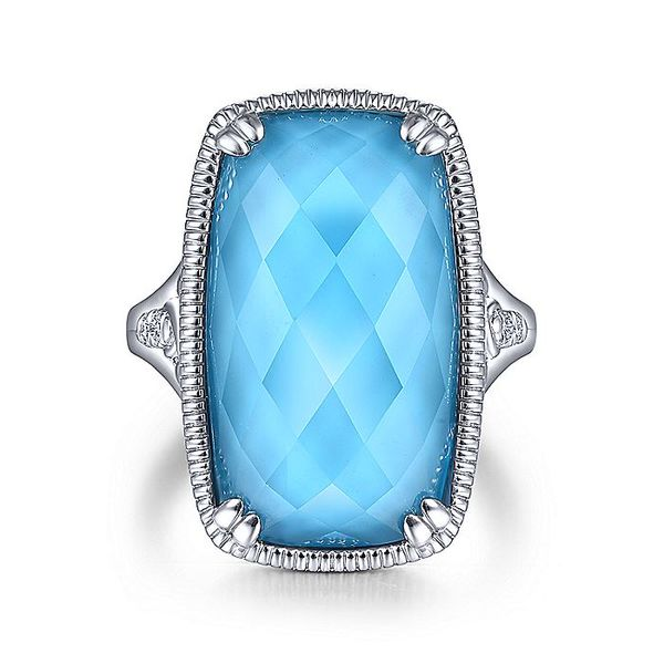 Gabriel & Co Silver Turquoise And White Sapphire Fashion Ring David Scott Fine Jewelry Panama City Beach, FL