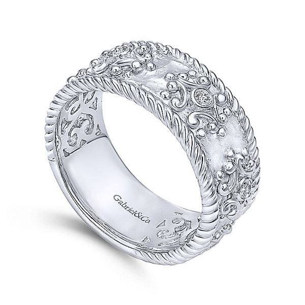 Gabriel & Co Silver Diamond Embossed Wide Band Ring Image 3 David Scott Fine Jewelry Panama City Beach, FL