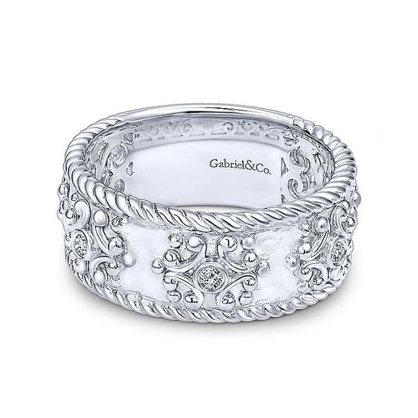 Gabriel & Co Silver Diamond Embossed Wide Band Ring David Scott Fine Jewelry Panama City Beach, FL