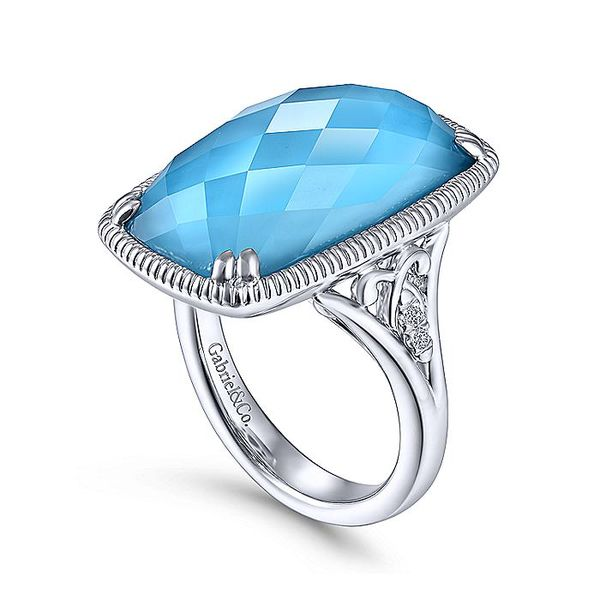 Gabriel & Co Sterling Silver Rock Crystal/Turquoise Long Cushion Cut Ring Image 2 David Scott Fine Jewelry Panama City Beach, FL