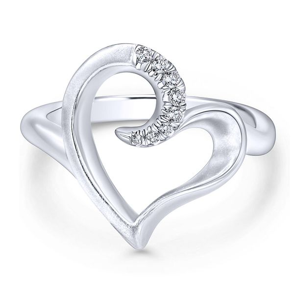 Gabriel & Co. Silver Heart Ring With White Sapphires David Scott Fine Jewelry Panama City Beach, FL