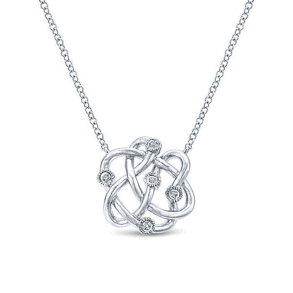 Gabriel & Co  Silver Twisted Knot Diamond Necklace David Scott Fine Jewelry Panama City Beach, FL