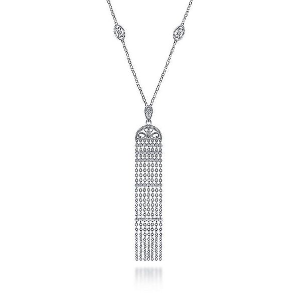 Gabriel & Co Silver Tassel Necklace With With Sapphires Image 2 David Scott Fine Jewelry Panama City Beach, FL