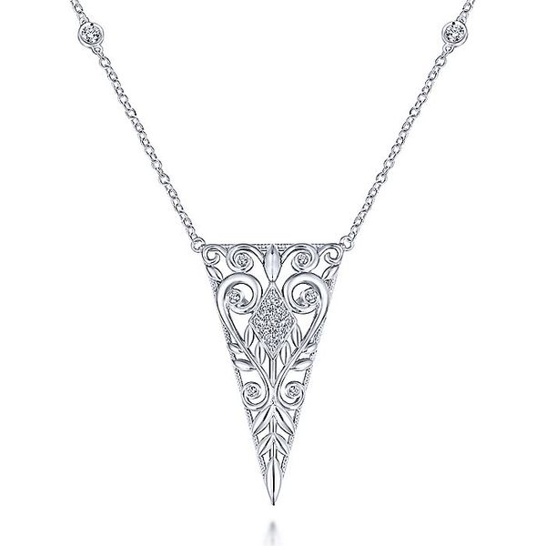 Gabriel & Co Silver Scrollwork Triangular Vintage Inspired White Sapphire Pendant Necklace David Scott Fine Jewelry Panama City Beach, FL