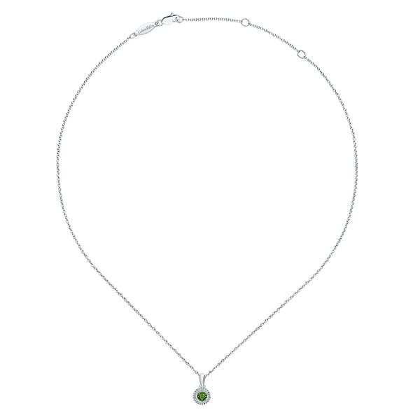 Gabriel & Co Sterling Silver Beaded Round Peridot Pendant Necklace Image 2 David Scott Fine Jewelry Panama City Beach, FL