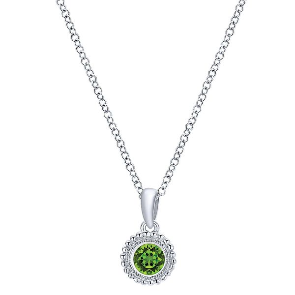 Gabriel & Co Sterling Silver Beaded Round Peridot Pendant Necklace David Scott Fine Jewelry Panama City Beach, FL