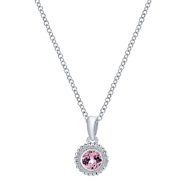 Gabriel & Co Sterling Silver Beaded Round Pink Created Zircon Pendant Necklace David Scott Fine Jewelry Panama City Beach, FL