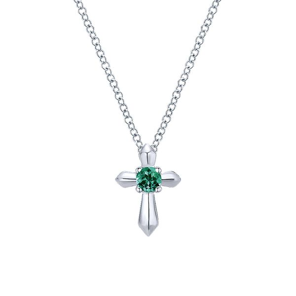 Gabriel & Co Sterling Silver Round Emerald Cross Necklace David Scott Fine Jewelry Panama City Beach, FL