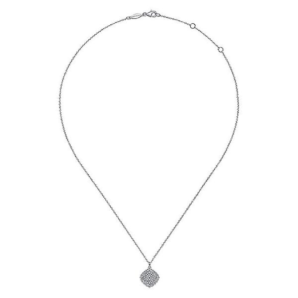 Gabriel & Co Sterling Silver White Sapphire Pavé Center and Bujukan Bead Frame Pendant Necklace Image 2 David Scott Fine Jewelry Panama City Beach, FL