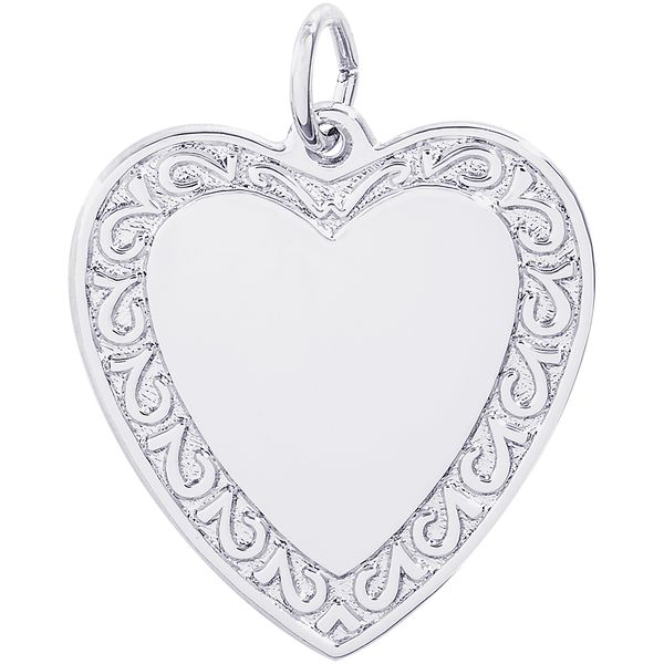 Rembrandt Sterling Silver Scrolled Classic Heart Charm David Scott Fine Jewelry Panama City Beach, FL