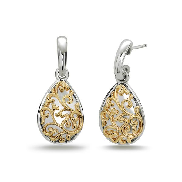 Pair Of Ladies Charles Krypell Sterling Silver Domed Pear Shaped Dangles Earrings With 18 Karat Yellow Gold David Scott Fine Jewelry Panama City Beach, FL