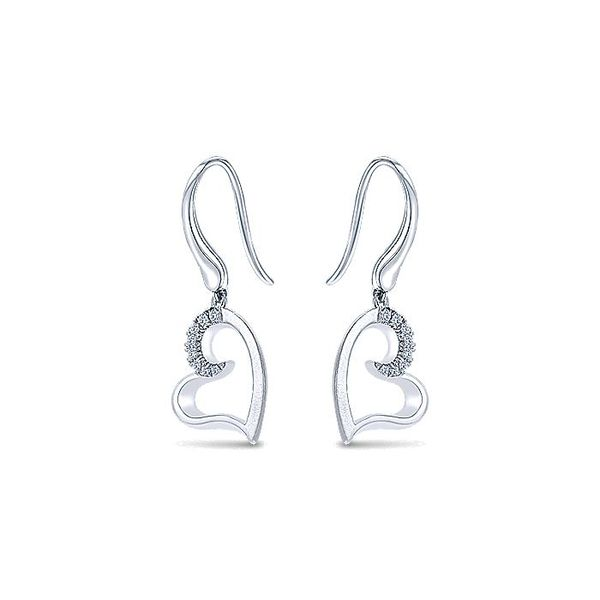 Gabriel & Co. Silver Drop Heart Earring With White Sapphires Image 2  ,